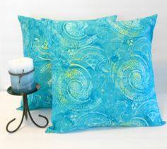 Blue Pillow Covers Batik Print Beach Decor 16 X by SarahLyallHome, $32.00