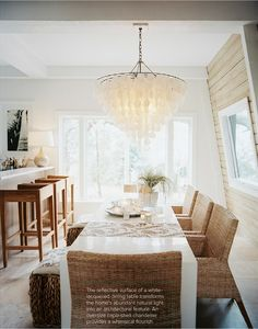 White Lacquered Table Wicker Chairs Capiz Chandelier In Dining E Of Lisa Sherry Via