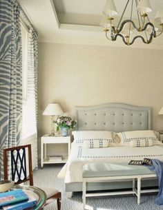 Beautiful biscuit and palest grey-est turquoise bedroom