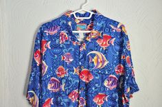 Vintage Joe Kealoha Men Hawaiian Shirt Tropical Fish Men's Large #JoeKealoha #Hawaiian