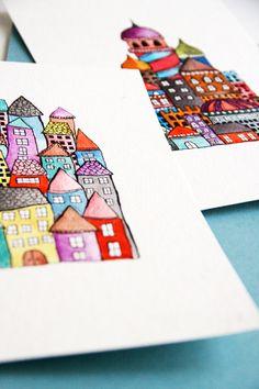 3rd grade, line, shape, overlap, pattern. Sharpie and liquid watercolors. Love Alisa's artwork