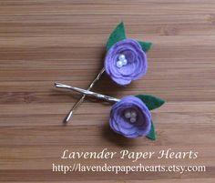 Hair Felt Lavender Flower Bobby Pins w/ pearl centers. $7.00, via Etsy seller Lavender Paper Hearts.
