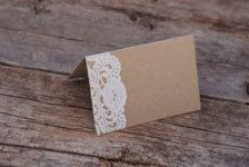 idea for food buffet label- brown card stock with doily cut out.
