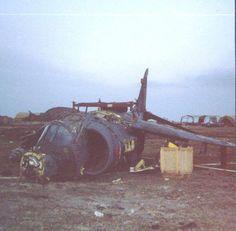 Harrier derribado por Antiaéreos Argentinos.