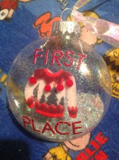 First Place Ugly Sweater Party Prize Christmas Glitter Ornament Cute! by HopesSassyGlass on Etsy https://www.etsy.com/listing/259830441/first-place-ugly-sweater-party-prize