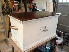 A hope chest idea...:) of course not the name in the front but I like the rest:)