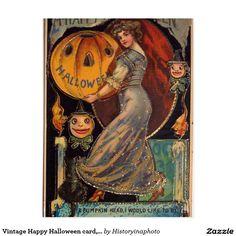 Vintage Happy Halloween card, Jack Olantern