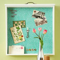 Up-cycled drawer shadowbox or bulletin board.