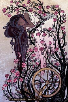 Briar Rose sprookje afbeelding 8 x 12