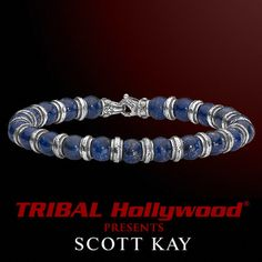 ALTERNATING BEAD Blue Lapis and Sterling Silver Bead Bracelet for Men by Scott Kay | Tribal Hollywood