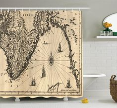 Ambesonne Wanderlust Decor Collection, Ancient Map of Southern Part of the Norway Vikings World Old Scandinavian Lands Print, Polyester Fabric Bathroom Shower Curtain, 75 Inches Long, Cream Grey