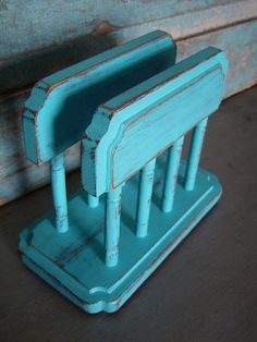 Turquoise Distressed Wood Napkin Holder