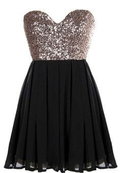 Glitter Fever Dress | Black Gold Sequin Party Dresses | Rickety Rack