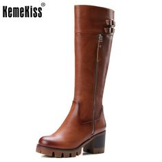 347e9e0c0f0 Cool Knight Boots Knee High Boots For Women Gladiator Square Med Heels  Round Toe Shoes Winter