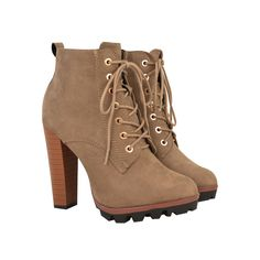 829ef62823bef8 Mocha Brown Suede Lace Up Block High Heel Chunky Worker Ankle Boots - JoJo