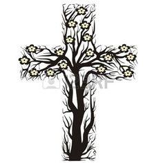 jesus love: floral christian cross, tree shape on a white background - vector illustration