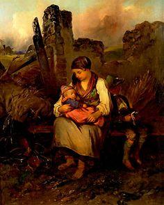 """""""Rastende Mutter mit Kindern"""" (1832) von Johann Matthias Ranftl (geboren am 20. Jänner 1804 in Wien, gestorben am 1. November 1854 in Wien), österreichischer Maler und Grafiker."""