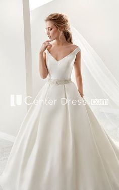 Simple V-Neck A-Line Satin Wedding Dress With Beaded Belt And Brush Train - UCenter Dress