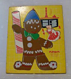 PLAYSKOOL Wood Puzzle GINGERBREAD MAN 1960s by EauPleineVintage, $9.95