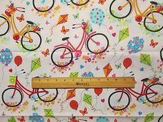 RETRO-BIKE-BICYCLE-KITES-MULTI-COLORS-COTTON-FABRIC-BTHY