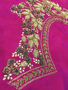 Hand Work Blouse Design, Simple Blouse Designs, Saree Blouse Neck Designs, Bridal Blouse Designs, Blouse Patterns, Zardosi Embroidery, Hand Work Embroidery, Beaded Embroidery, Embroidery Blouses
