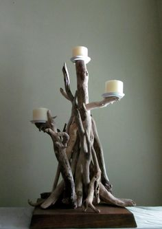 2 Foot Tall 3 Pillar Candle Driftwood by DriftingConcepts on Etsy