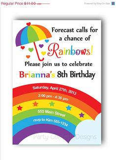 ON SALE 30 OFF Rainbow Birthday by PartyConfettiDesigns on Etsy