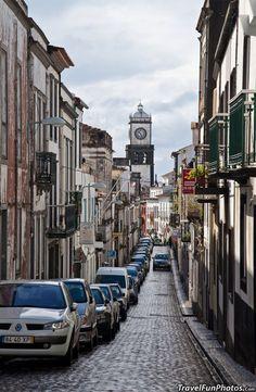Narrow Streets of Ponta Delgada in San Miguel, Portugal