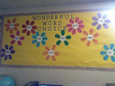 I really like the idea of synonym flowers as a permanent fixture in the classroom, especially for words that students use over and over and over again. Classroom Posters, Classroom Ideas, Reading Anchor Charts, Word Walls, Spelling And Grammar, English Activities, 5th Grades, Board Ideas, Bulletin Board