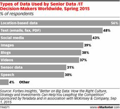 The survey found that location-based data was the most commonly used type, and the only one cited by a majority of respondents worldwide.