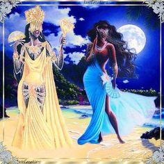 Oshun y Yemaya Oshun Y Yemaya, Oshun Goddess, Goddess Art, Black Girl Art, Black Women Art, Black Girl Magic, Art Girl, Black Art, African Mythology
