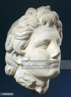 Head of Alexander, Roman copy in marble from original of Hellenistic period…