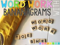 Bananagrams are perfect for classroom word work. Kids love manipulating the tiles to create word families and sight words--really, whatever you want them to work on! Word Work Stations, Word Work Centers, Literacy Centers, Literacy Stations, Word Work Activities, Spelling Activities, Phonics Games, Jolly Phonics, Word Games