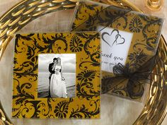 Gold and Black Damask Design Photo Coaster (Cassiani Collection 823)   Buy at Wedding Favors Unlimited (http://www.weddingfavorsunlimited.com/gold_and_black_damask_design_photo_coaster.html).