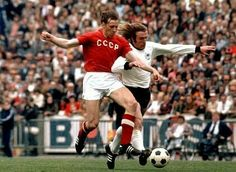West Germany 3 USSR 0 in 1972 in Brussels. Gunter Netzer charges down the line in the European Championship Final. Mais