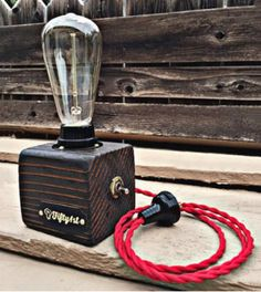 Upcycled Lil Pete Edison Bulb Lamp by on Scoutmob Pipe Lighting, Barn Lighting, Old Lamps, Antique Lamps, I Like Lamp, Lampe Steampunk, Edison Lampe, Bamboo Lamp, Wooden Lamp