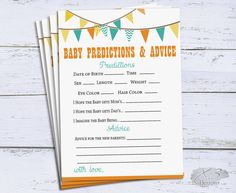 Predictions for Baby, Baby Predictions Cards, Baby Shower Games Printable, Flag Baby Shower Advice Cards, Instant Download by X3designs