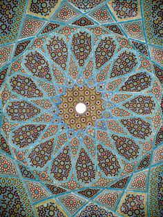 nobodycangiveyoufreedom: Ceiling of the tomb of Persian poet Hafiz in Shiraz, Iran.  [Would the pattern be considered a paisley motif?  Albeit an abstract one?]