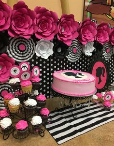Barbie Silhouette Party. Giant paper flowers. Polka dots and stripes