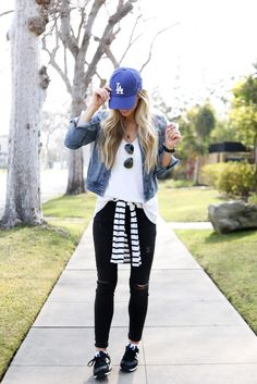 Black Ripped Denim + White Top + Jean Jacket + Striped Accent