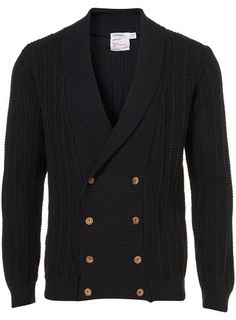 Navy Double Breasted Textured Shawl Collar Cardigan