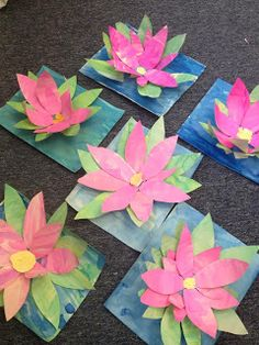 Artist study The Colorful Art Palette: African Lions, Monet Waterlilies, Van Gogh Winter Sky Flower Crafts, Flower Art, Montessori Art, Montessori Elementary, Kindergarten Art Projects, Thinking Day, Spring Art, Art Lessons Elementary, Art Classroom
