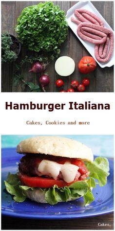 Rezepte für einen Burger italiana, selbstgemachtes Ketchup, hausgemachte Hamburgerbrötchen, Buns und Patties aus Wurst.
