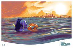 Finding Nemo By Cesar Moreno Disney Cars, Disney Pixar, Walt Disney, Pixar Poster, Movie Posters, Disney Posters, Screen Print Poster, Poster Prints, Finding Nemo Poster