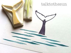Whale hand carved rubber stamps. whale fin stamp. ocean wave stamp ...