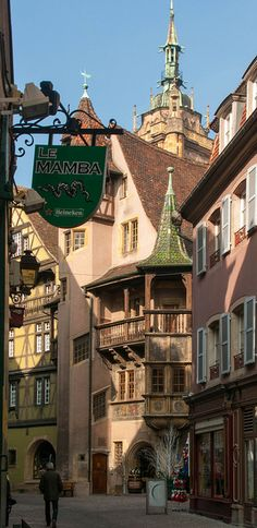 """Colmar ~ Alsace, France. The """"Le Mamba"""" sign is pretty out of place with the charming old street! Lol!"""