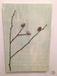 A fun and easy project is to make your own pebble art using twigs and pebbles collected from outside. Check out my tree and bird project for inspiration. Glue Crafts, Rock Crafts, Rustic Crafts, Rustic Decor, Sitting In A Tree, Homemade Christmas Decorations, Salvaged Wood, Milk Paint, Pebble Art