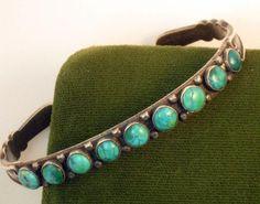 Vintage Native American Sterling Turquoise Zuni Snake Eye bracelet