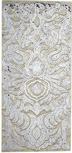 Champagne Mirrored Mosaic Damask Panel | Wall Decor & Art ...