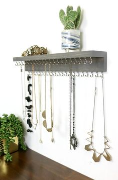 Wall mount necklace, jewelry organizer with shelf, necklace display - -. - Wall Mount Necklace, Jewelry Organizer with Shelf, Necklace Display – -… – Wall Mount Necklac - Wall Mounted Necklace Holder, Diy Necklace Holder, Necklace Hanger, Wall Mount Jewelry Organizer, Necklace Storage, Jewelry Wall, Diy Jewelry Holder, Jewelry Hanger, Jewellery Storage